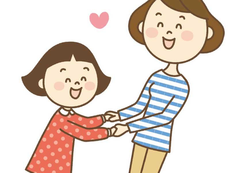 子供と手を繋いでる母親のイラスト