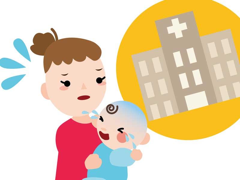 赤ちゃんを抱っこして病院に向かうお母さんのイラスト