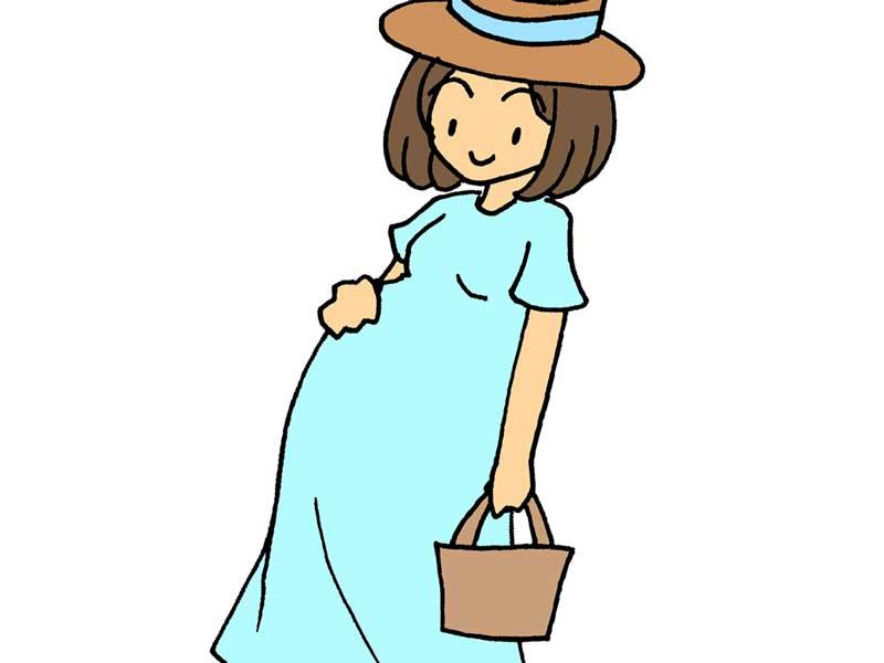 ワンピースを着ている妊婦さんのイラスト