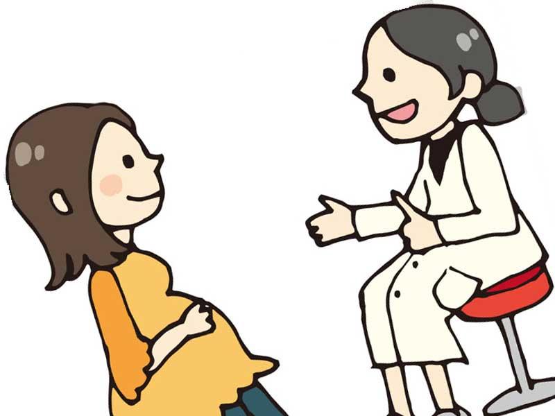 健診をしている妊婦さんのイラスト