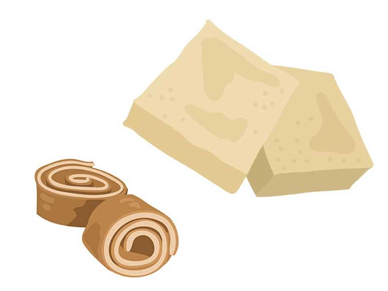 麩と高野豆腐のイラスト