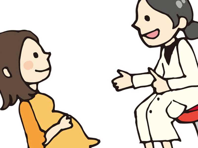 医師と相談をしている妊婦さんのイラスト