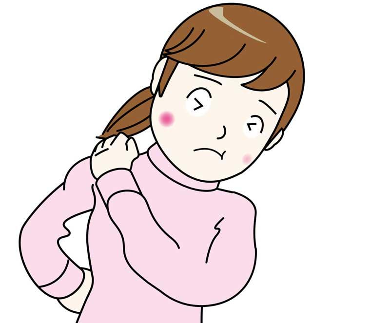 肩と首凝りの妊婦さんのイラスト