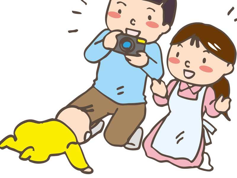新生児期の赤ちゃんを撮影するお父さんとお母さんのイラスト