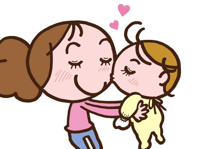 大好きな赤ちゃんを抱っこしているお母さんのイラスト