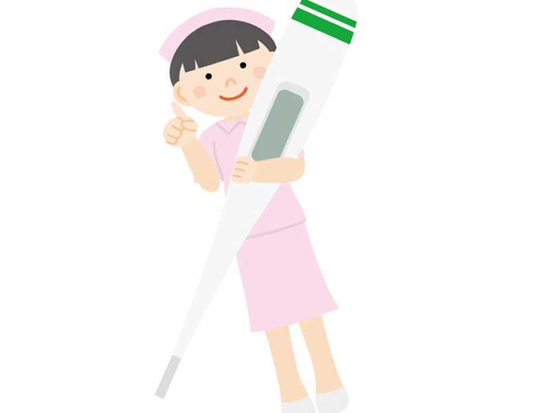 体温計を抱いている看護婦のイラスト