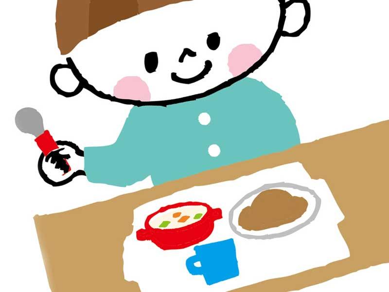 朝食を取る子供のイラスト