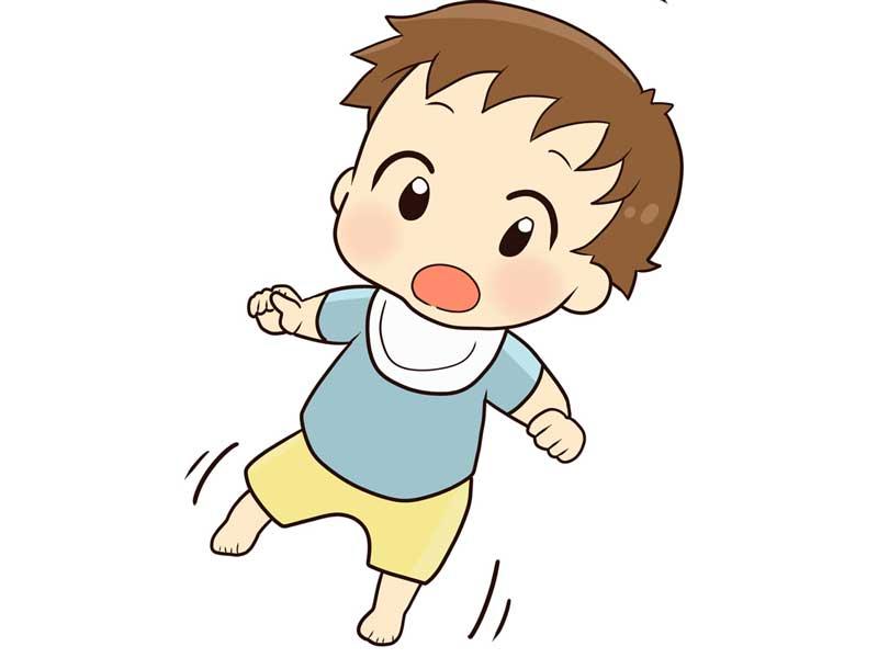 バランスを取りながら歩いている赤ちゃんのイラスト