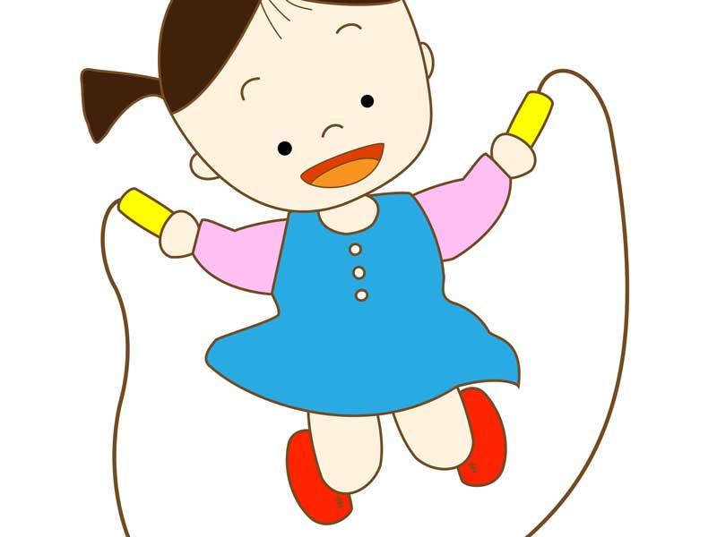 縄跳びをする子供のイラスト