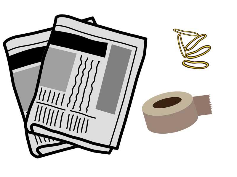 新聞紙、テープと輪ゴムのイラスト