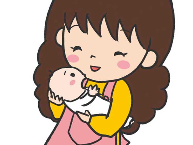 赤ちゃんに声をかけるお母さんのイラスト