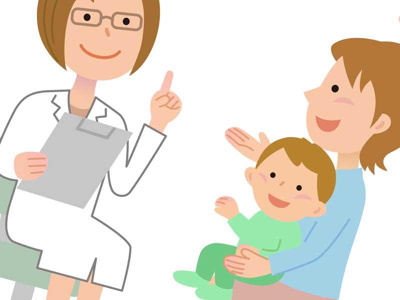 小児科医に相談する赤ちゃんを抱っこしているお母さんのイラスト