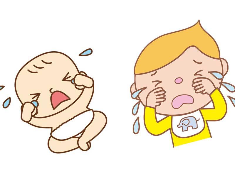 同時に泣いている赤ちゃんの兄弟のイラスト
