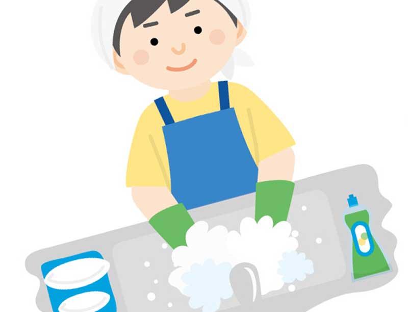皿洗いをしている男性のイラスト