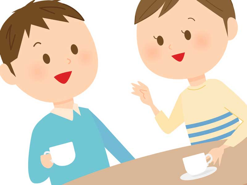 お茶をする夫婦のイラスト