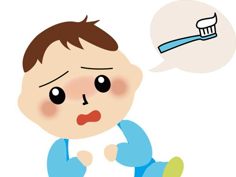 歯磨き嫌いな赤ちゃんのイラスト
