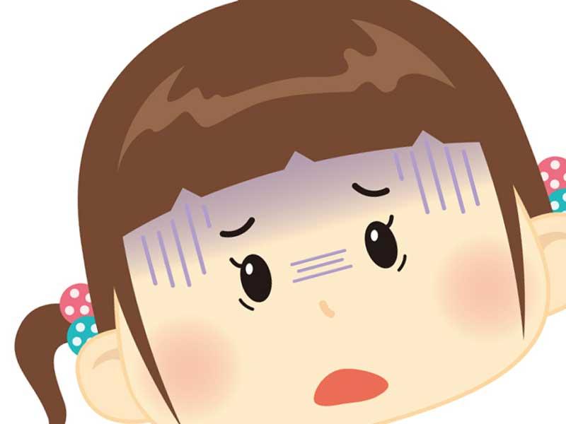 怖がる顔の子供のイラスト