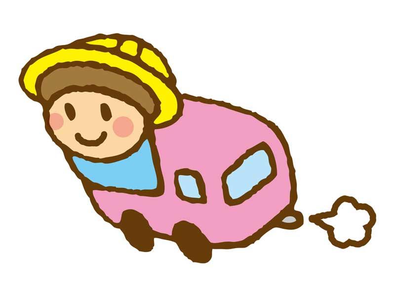 幼稚園の送迎バスに乗っている子供のイラスト