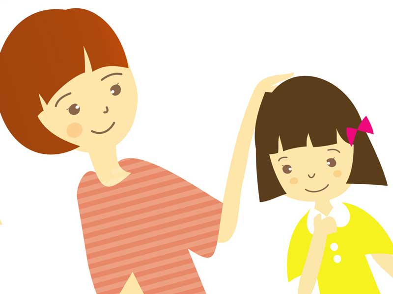 子どもと話をしているお母さんのイラスト