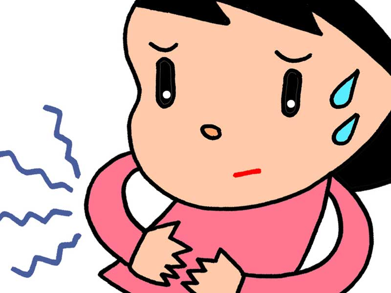 胃もたれしてる女性のイラスト