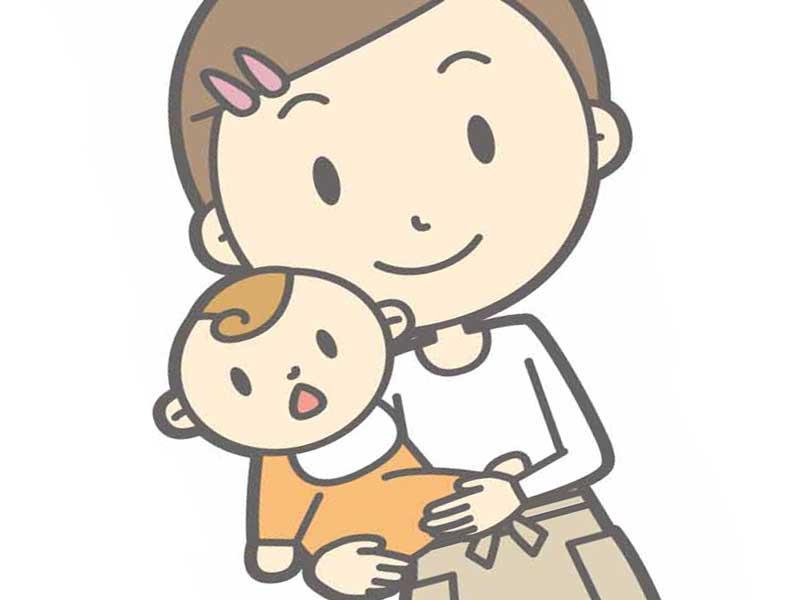 子供を抱っこしている保育園の先生のイラスト