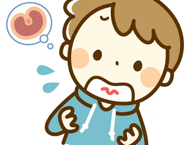 扁桃腺が腫れている子供のイラスト