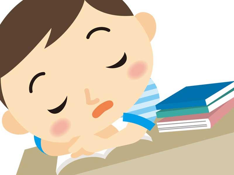 授業中に寝ている子供のイラスト
