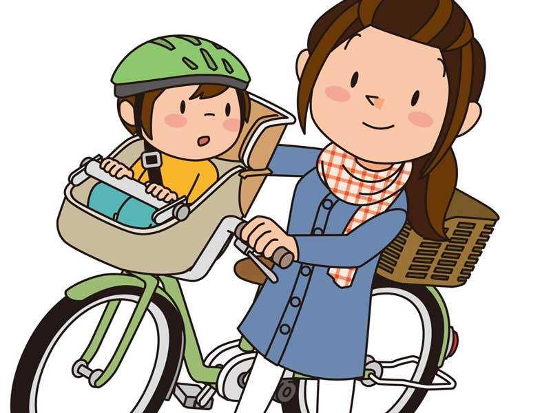 子供を自転車に乗せて押して歩いているお母さんのイラスト