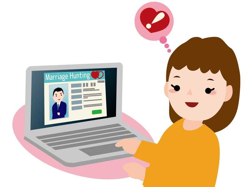 パソコンでお見合い相手の写真を見る女性のイラスト
