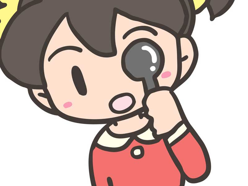 視力検査を受ける子供のイラスト