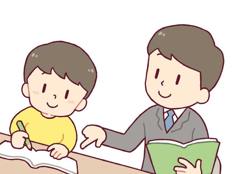 生徒の勉強を指導する先生のイラスト