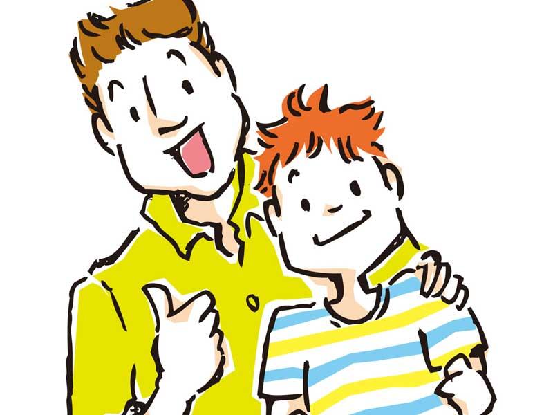 子供に自信をつけるお父さんのイラスト
