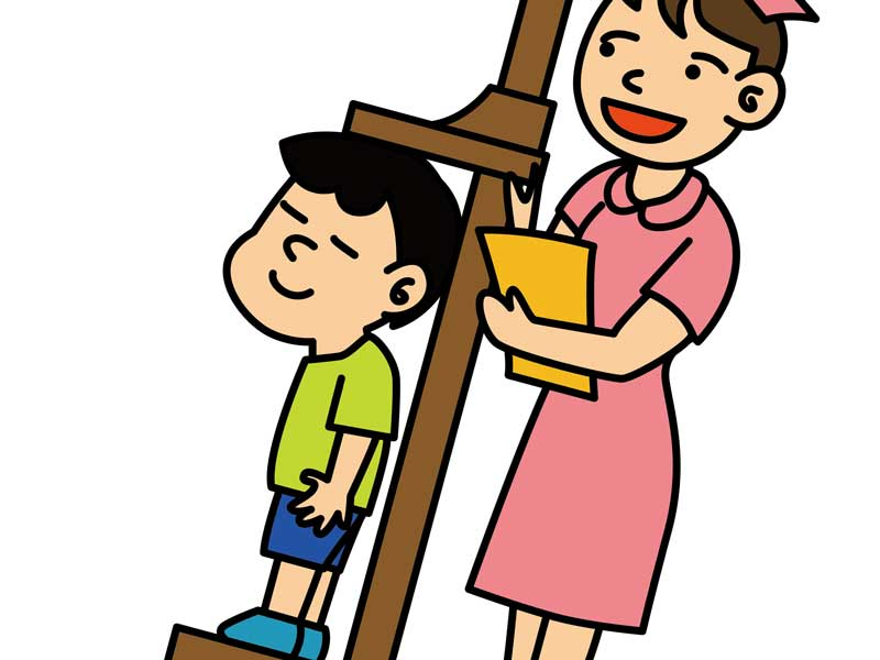 子供に身長計測する看護婦のイラスト