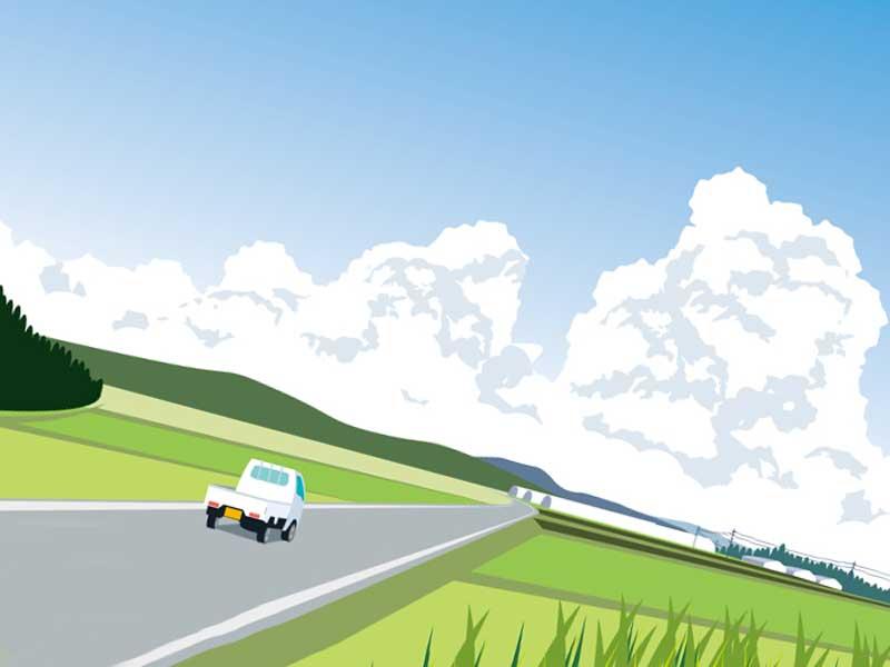 農村の風景のイラスト