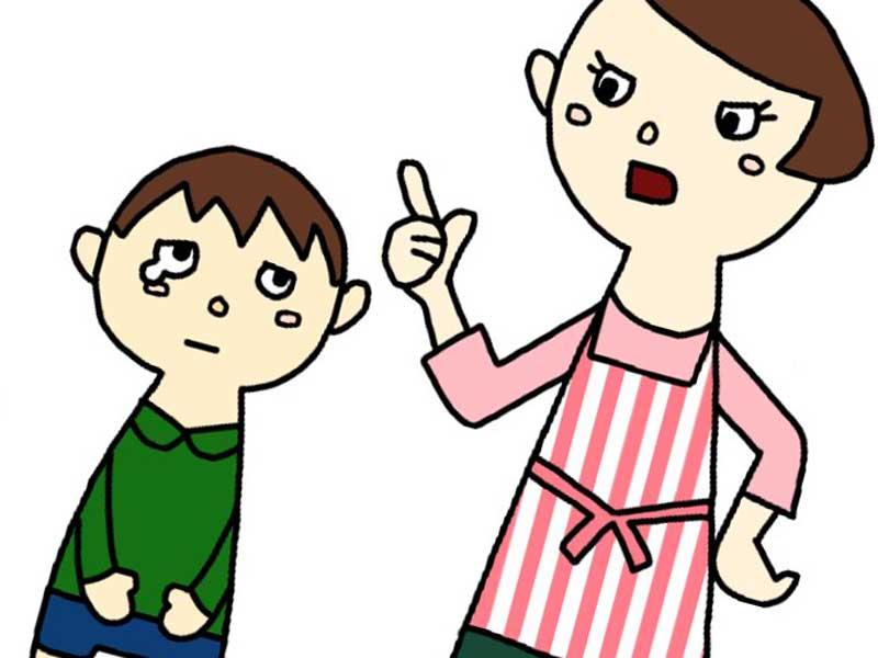 子供に怒っているお母さんのイラスト