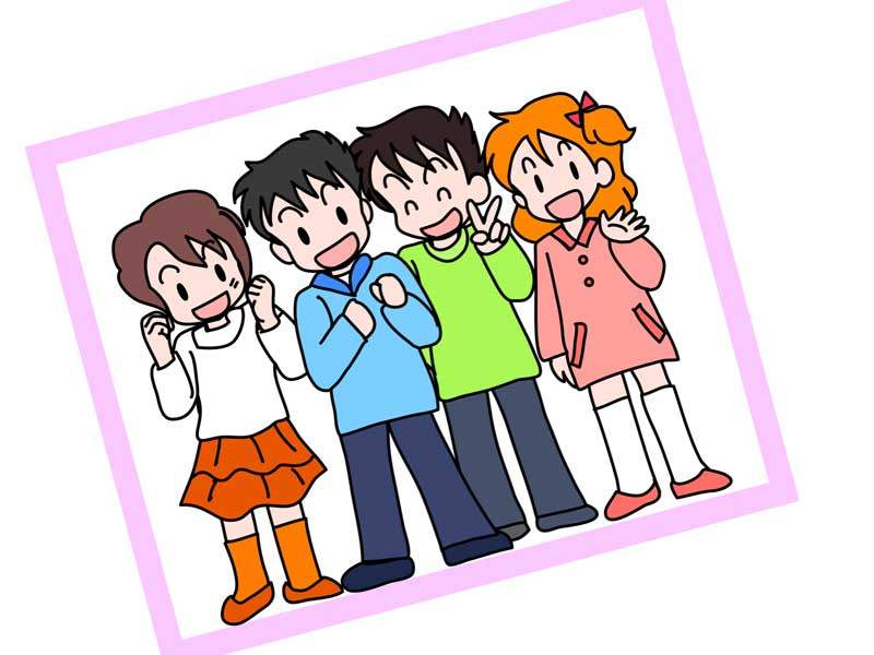 子供達四人の写真のイラスト