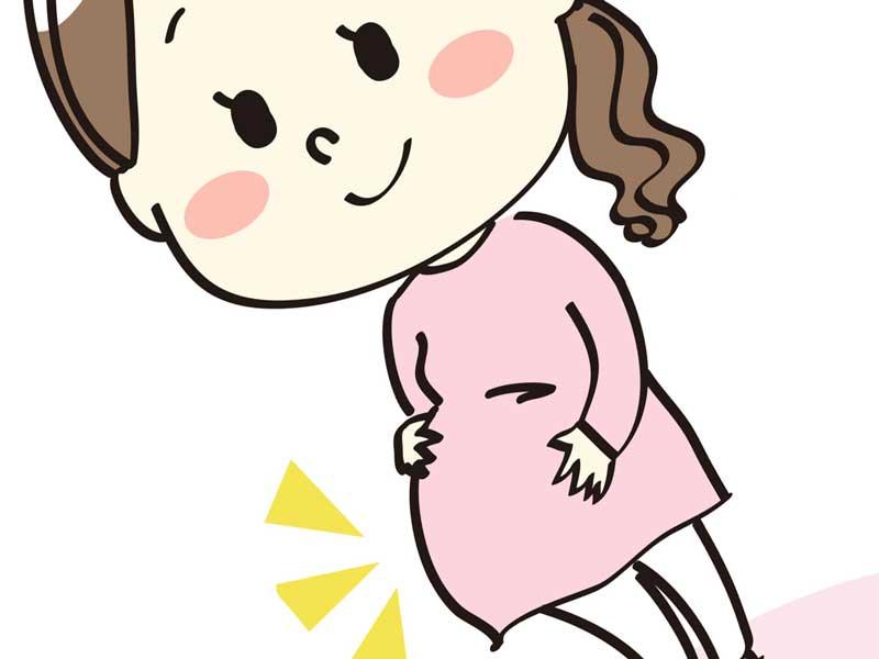 お腹をつんつんする妊婦さんのイラスト