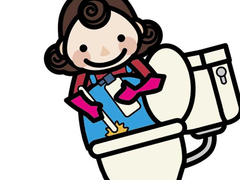 トイレを掃除している妊婦さんのイラスト