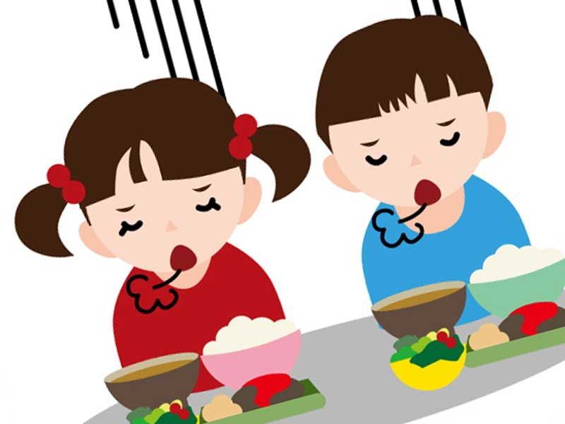 食欲がない子供達のイラスト