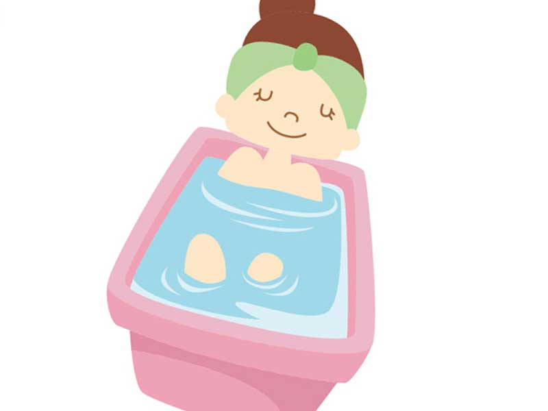湯船に入っている女性のイラスト