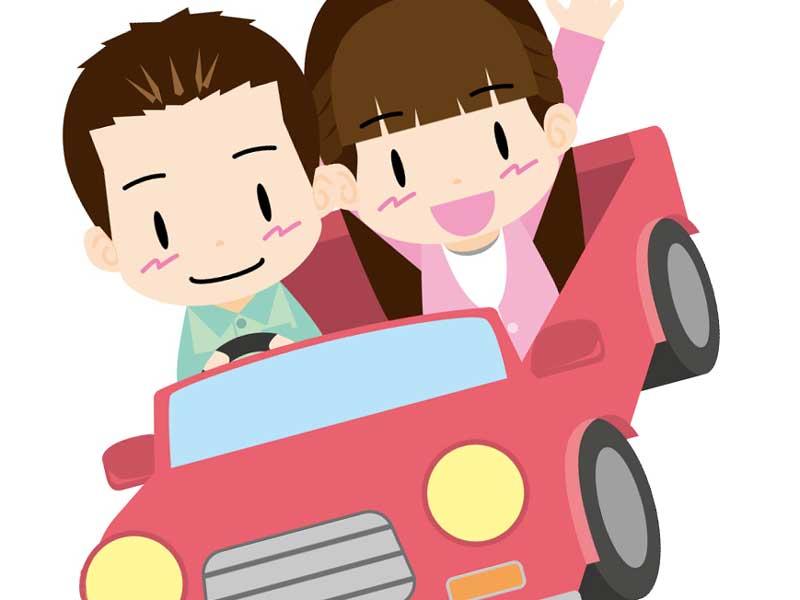ドライブをしている夫婦のイラスト