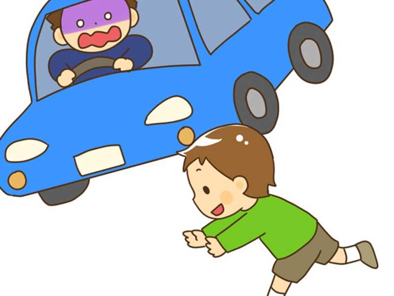 道路に飛び出した子供のイラスト
