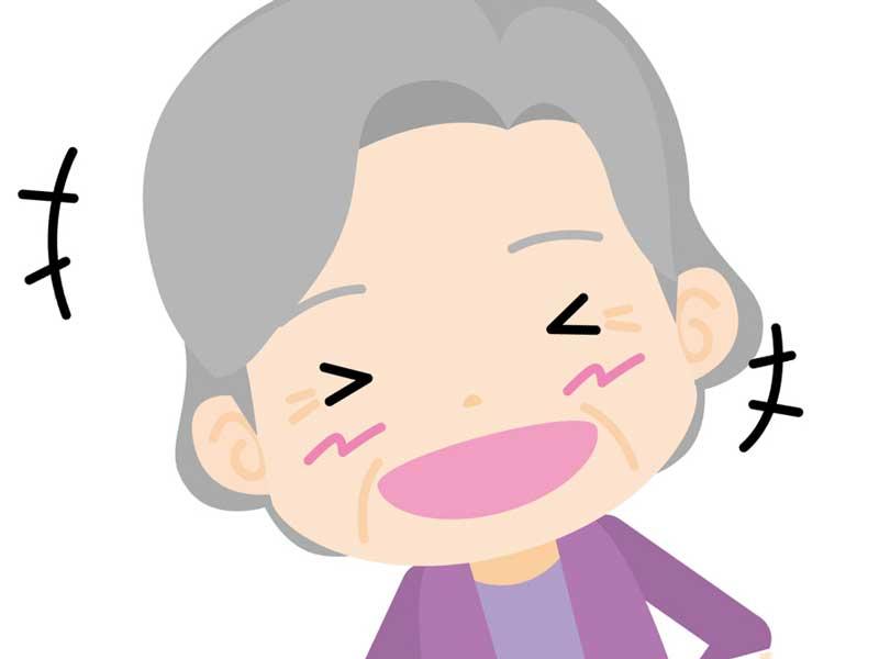 爆笑するお婆さんのイラスト