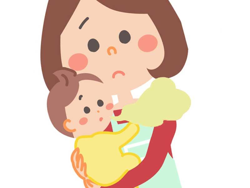 抱っこしている赤ちゃんの口臭を気にしているお母さんのイラスト