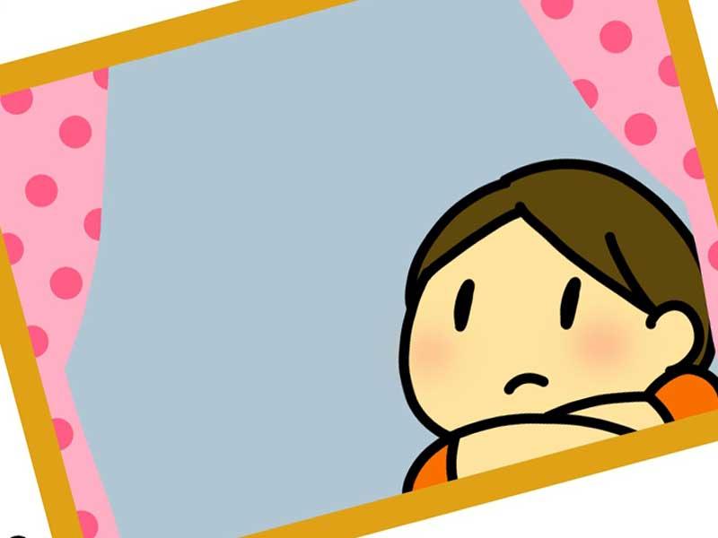 部屋に閉じ込めている子供のイラスト