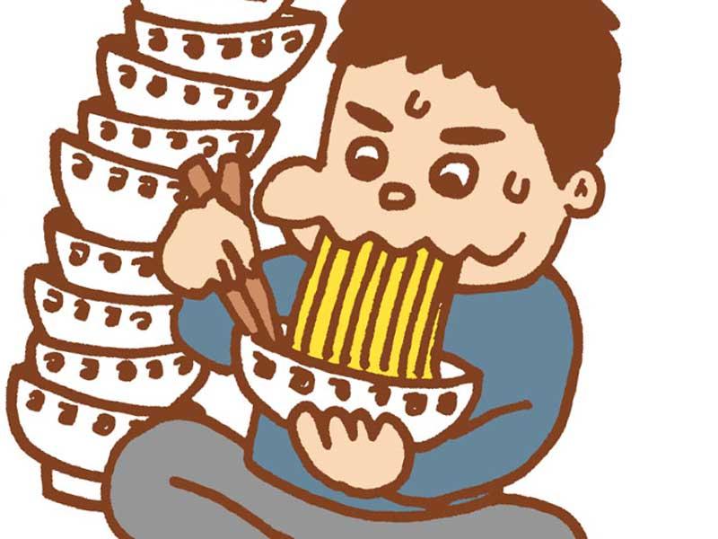 同じ物を食べすぎる人のイラスト