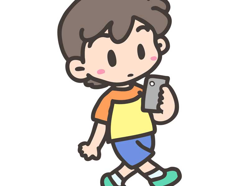 歩きスマホする子供のイラスト