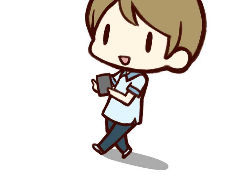 ポケモンGOで遊んでいる学生のイラスト