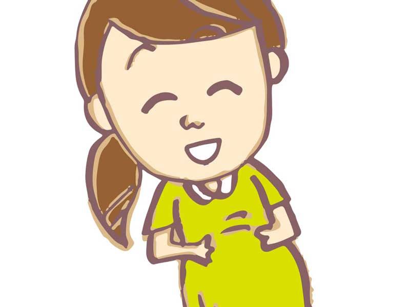 笑顔に妊婦さんのイラスト