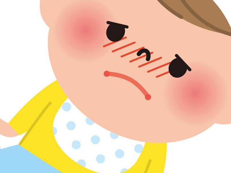 風邪を引いている赤ちゃんのイラスト
